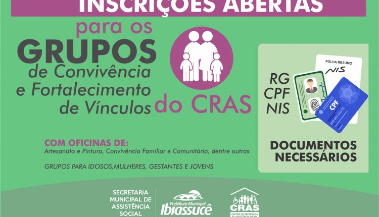 CRAS abre inscrições para os grupos de convivência para Gestantes, Mulheres, Jovens e Idosos
