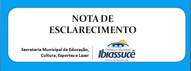 Nota de Esclarecimento – Secretaria Municipal de Educação, Cultura, Esportes e Lazer
