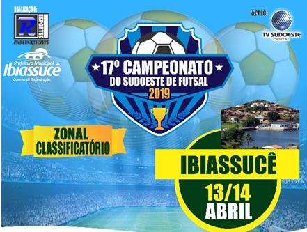 TV Sudoeste fará cobertura do 17º Campeonato do Sudoeste de Futsal 2019 em Ibiassucê