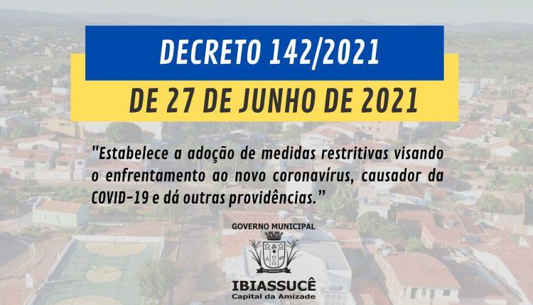 DECRETO 142/2021 DE 27 DE JUNHO DE 2021