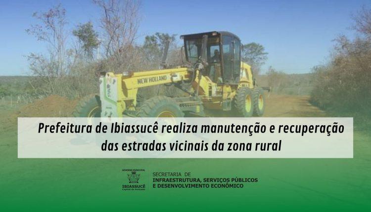 Prefeitura de Ibiassucê realiza manutenção e recuperação das estradas vicinais da zona rural